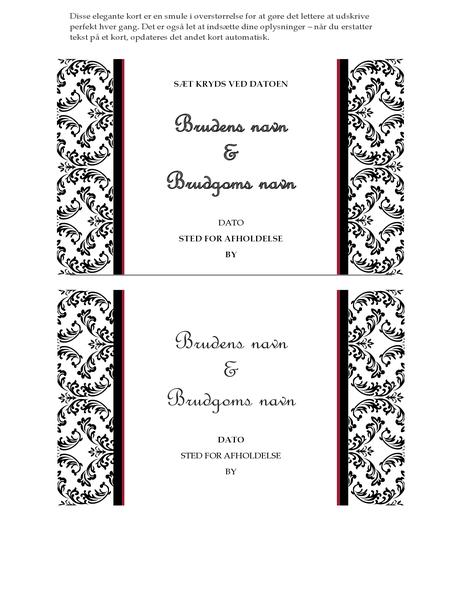 Bryllupskort med sæt kryds ved datoen (sort-hvidt bryllupsdesign)