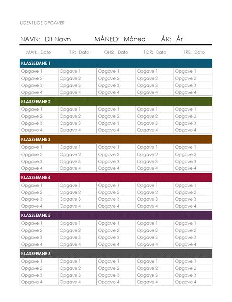 Ugentlig opgaveplanskalender