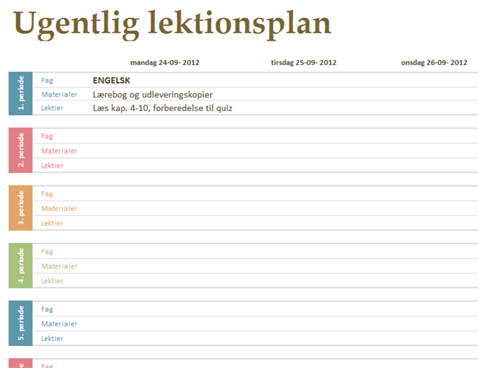 Ugentlig lektionsplan for studiet - Office Templates