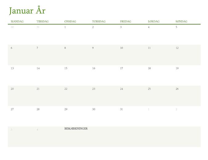 Kalender for et hvilket som helst år (1 måned pr. fane)