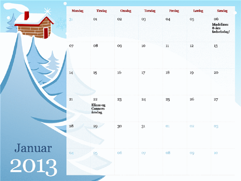 Illustreret årstidskalender for 2013, man-søn