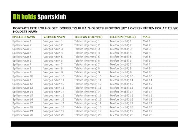 Kontaktliste for ungdomssportsgrene