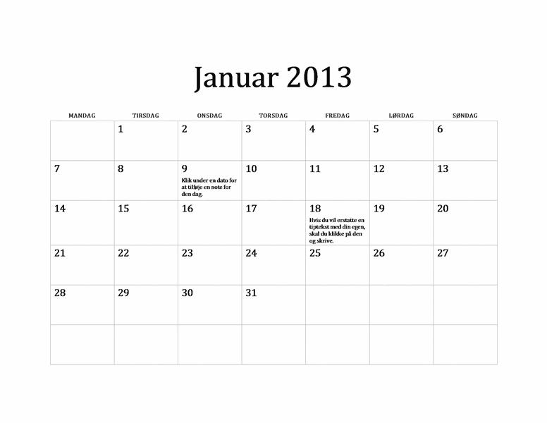 Klassisk kalender for 2013 (M-S)
