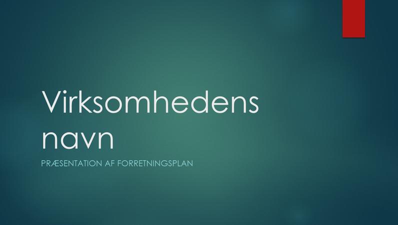 Præsentation af forretningsplan (Iongrønt design, widescreen)