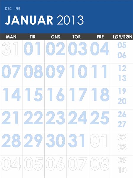 Kalender for 2013-2014, flere farver (man-søn)