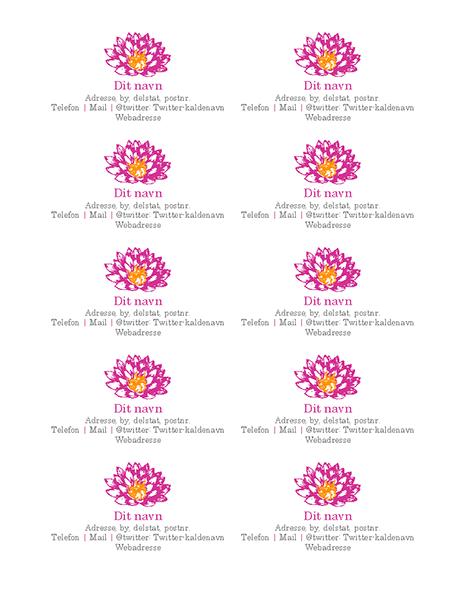 Personlige visitkort med blomsterdesign