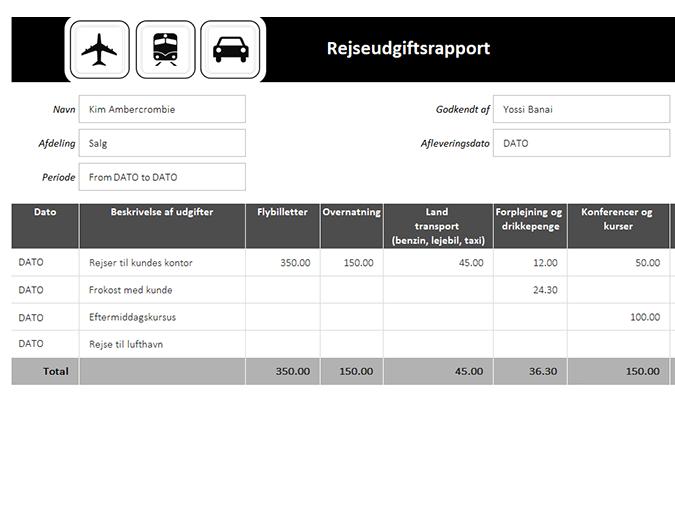Rapport over rejseudgifter med kilometerlog