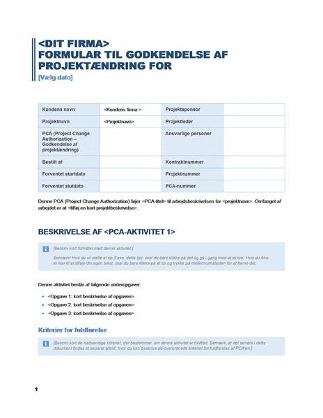 Formular til godkendelse af projektændringer