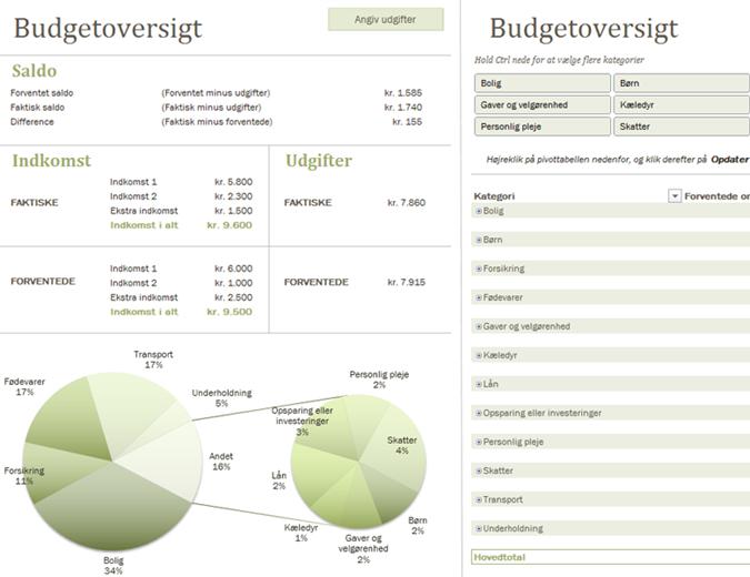 Familiebudget med diagrammer