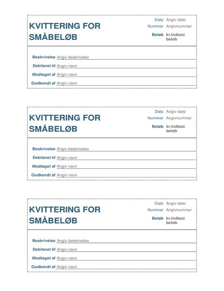 Kvittering for småbeløb (3 pr. side)
