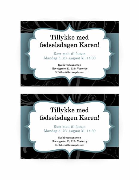 Festinvitation (design med blåt bånd)