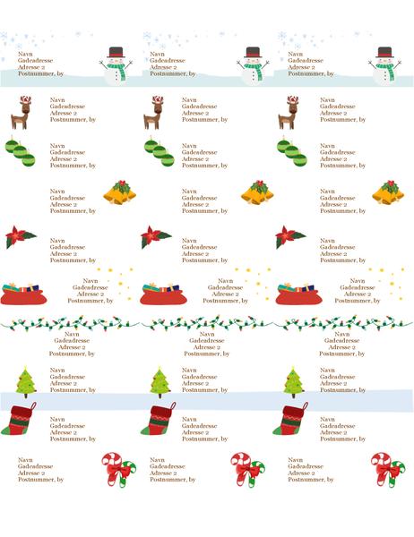 Til/fra-kort til gaver (design med julestemning, 30 pr. side, fungerer med Avery 5160)