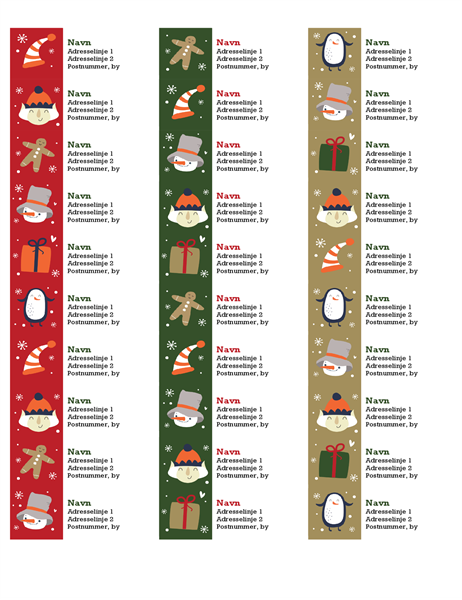 Adressemærkater (design med julestemning, 30 pr. side, fungerer med Avery 5160)