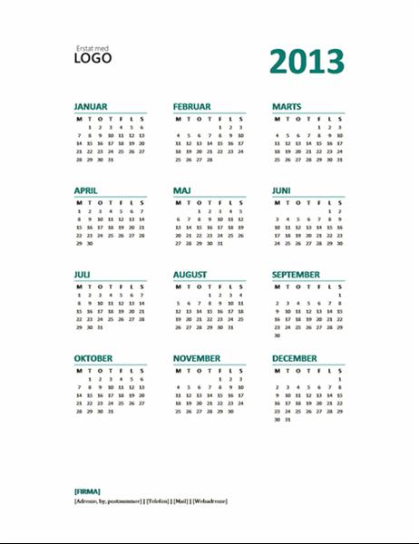 2013-kalender med hurtigt overblik (formatet man-søn)