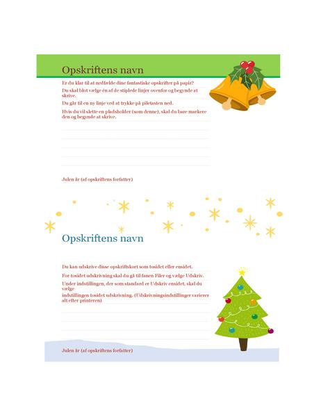 Opskriftskort (design med julestemning, to pr. side, fungerer med Avery 5889)