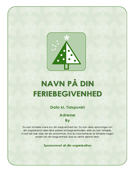 Løbeseddel til feriebegivenhed (med grønt træ)