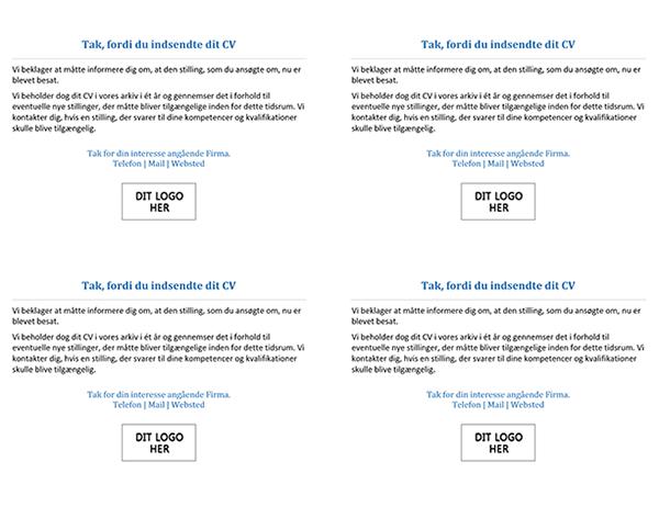 Postkort til jobansøgere, når stillingen er blevet lukket (4 pr. side)