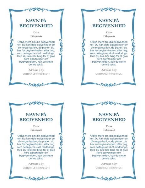Begivenhedsinvitationer (4 pr. side)
