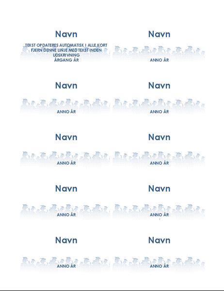 Dimittend-navnekort (10 per side)