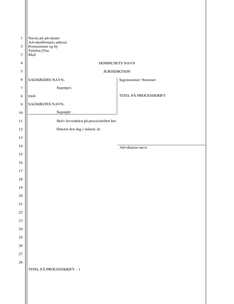 Juridisk indlæg (28 linjer)