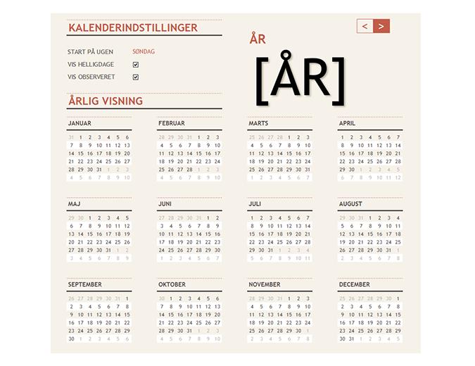 Evighedskalender med helligdage