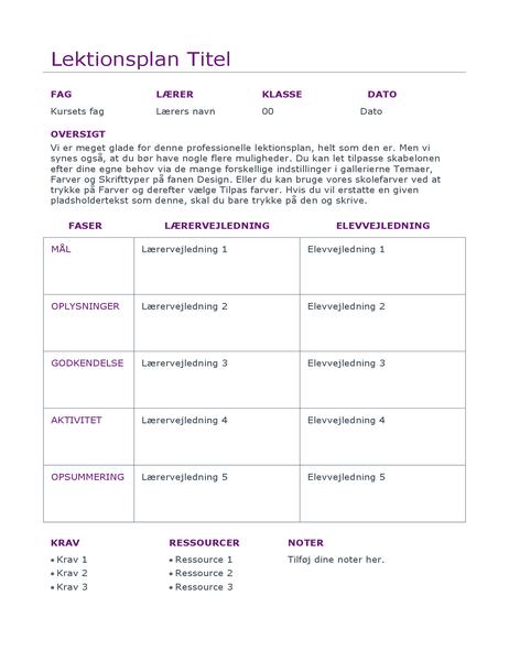 Daglig lektionsplan (farve)
