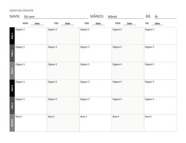 Ark til ugentlig opgaveplan (liggende)