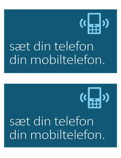 Skilt til forbud mod mobiltelefoner (to pr. side)