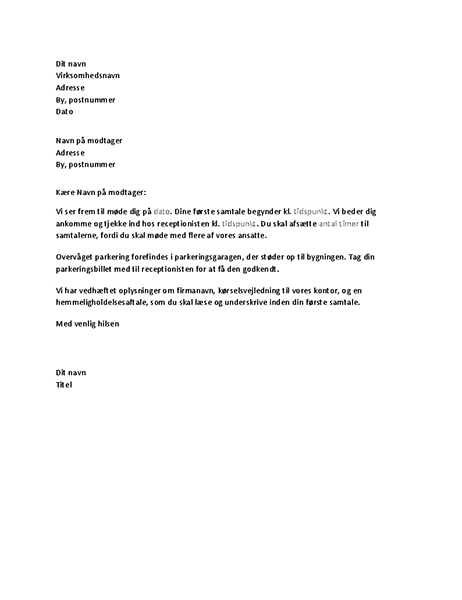 Brev, der bekræfter en ansøgers jobsamtale