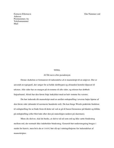 Fortælling i manuskriptformat