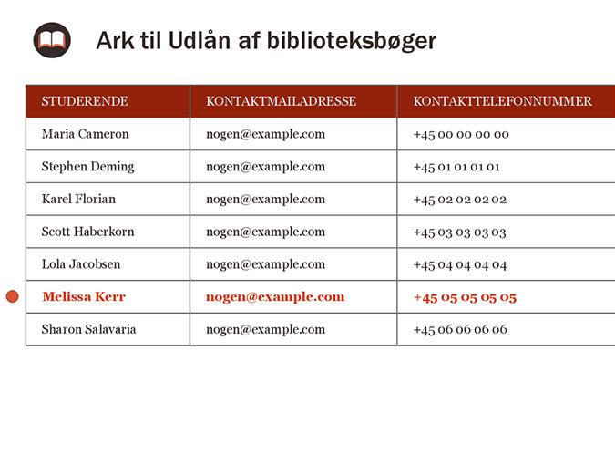 Ark til Udlån af biblioteksbøger