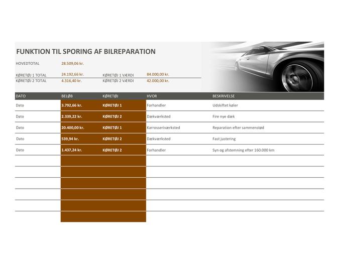 Funktion til sporing af bilreparation