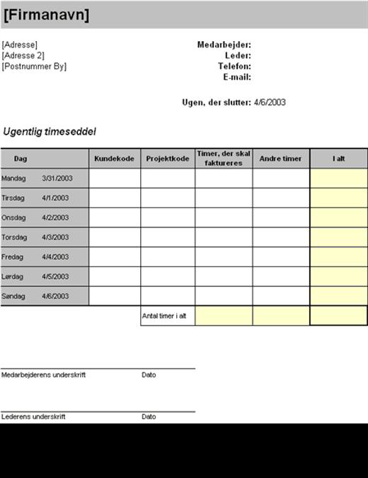 Ugentlig timeseddel pr. kunde og projekt