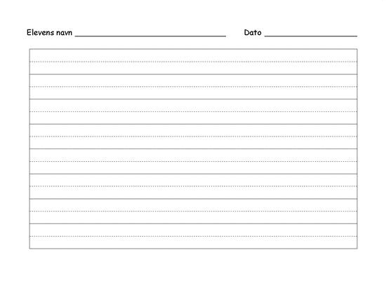 Papir til håndskriftsøvelse