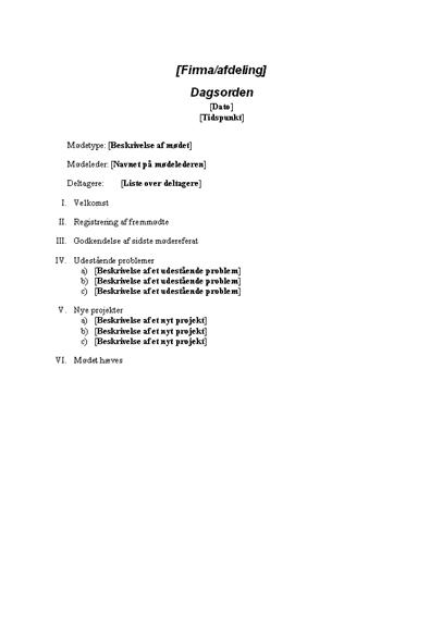 Mødedagsorden for et formelt møde