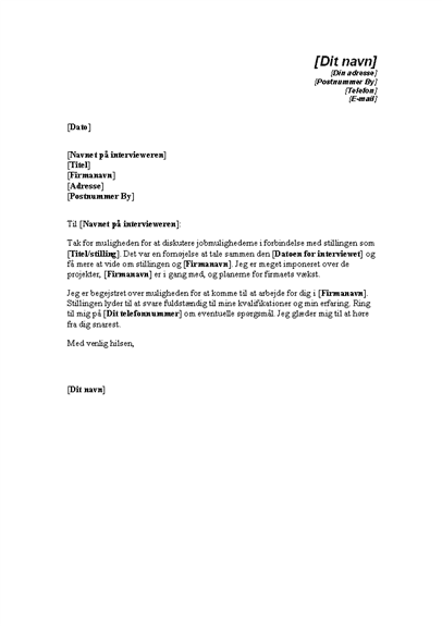Takkebrev efter en jobsamtale