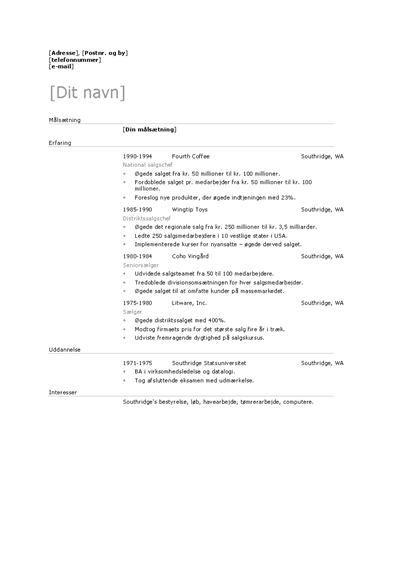 Salgschef-CV (standardtema)