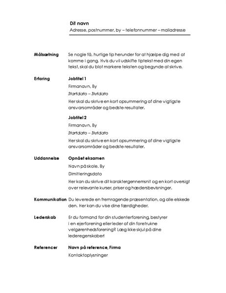 Kronologisk CV (minimalistisk design)