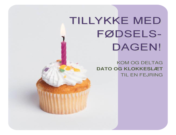 Løbeseddel med fødselsdagsinvitation (med en cupcake)
