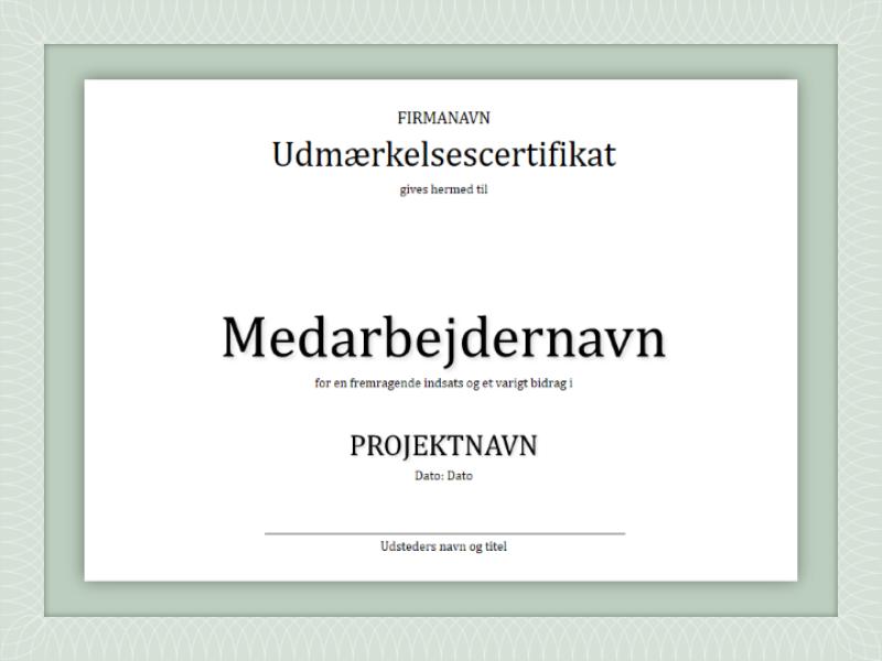 Udmærkelsescertifikat til medarbejder