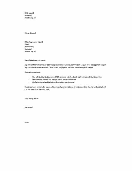 Følgebrev som svar på annonce, kort