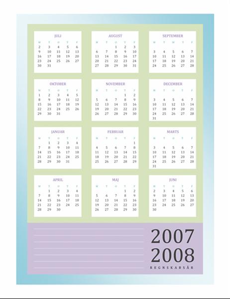 Kalender for regnskabsåret 2007-2008