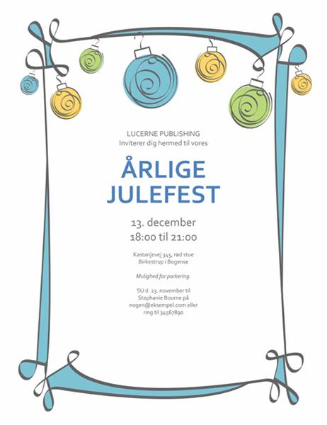 Invitation med blå, grønne og gule ornamenter (designet Uformelt)