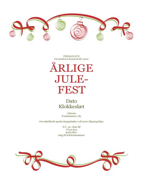 Invitation til julefest med pynt og rødt bånd (formelt design)