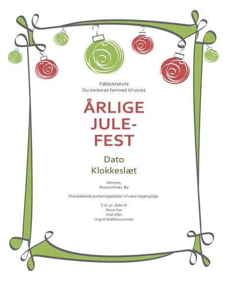 Invitation med røde og grønne ornamenter (designet Uformelt)