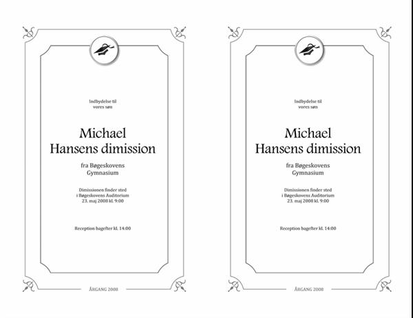 Indbydelse til dimission (formelt design, sort-hvid)