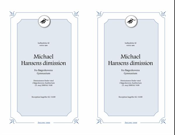 Indbydelse til dimission (formelt design)