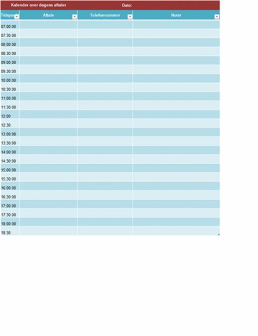 Kalender over daglige aftaler