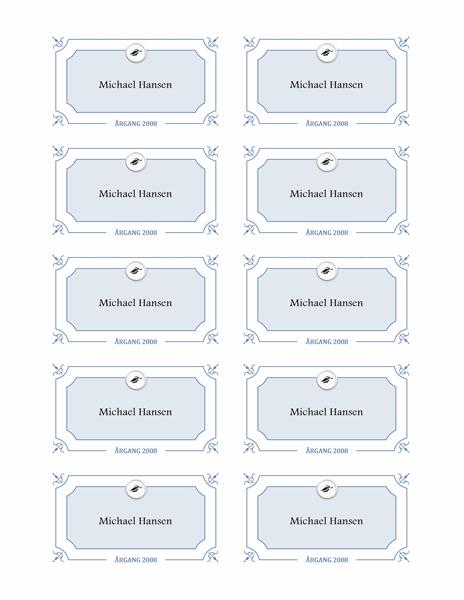 Navnekort til dimission (formelt design)