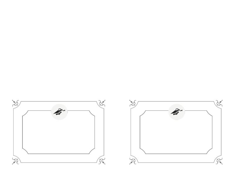 Takkekort til dimission (formelt design, sort-hvid)